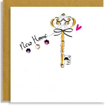 Fun New Home Cards - NEW HOME - Embellished CARD - SINGLE Gold KEY Greeting Card - NEW House CARD - New HOME & Change Of ADDRESS Cards