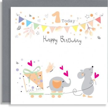 1st Birthday - 1 TODAY Happy BIRTHDAY - Cute BUNTING Birthday CARD - Birthday CARD For 1st BIRTHDAY - 1st BIRTHDAY