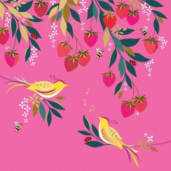 Beautiful Birthday Cards - MUSICAL BIRDS In A STRAWBERRY Tree - Birthday CARDS For HER - GOLD Foil BIRTHDAY Card - Birthday CARD For FRIEND - Aunt