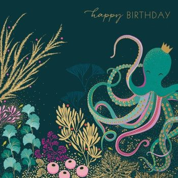 Beautiful Birthday Cards - Happy BIRTHDAY - OCTOPUS Beneath The SEA - BIRTHDAY CARDS For HER - GOLD Foil BIRTHDAY Card - Birthday CARDS Online