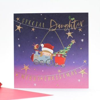 Daughter Christmas Cards - CHRISTMAS Cards For KIDS - MERRY Christmas - SPECIAL Daughter CHRISTMAS Cards - CUTE Reindeer Xmas CARD