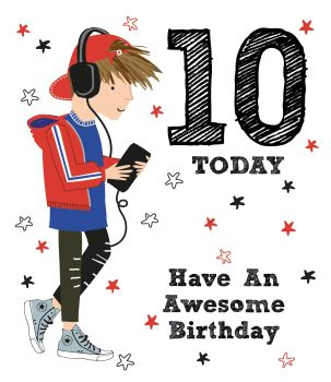 10th Birthday Card - 10 TODAY - Have AN AWESOME Birthday - Fun BIRTHDAY Cards - 10th BIRTHDAY Card FOR Son - NEPHEW - Grandson