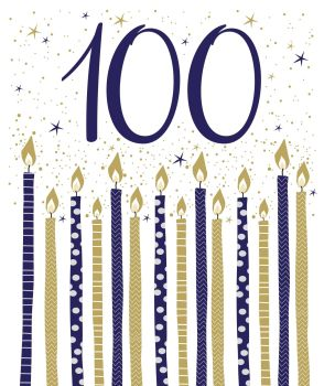 100th Birthday Cards - BIRTHDAY Candles BIRTHDAY Card - Birthday CARD For HIM - 100th BIRTHDAY Card - STUNNING Blue & Gold BIRTHDAY Card