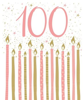 100th Birthday Cards - BIRTHDAY Candles BIRTHDAY Card - Birthday CARD For HER - 100th BIRTHDAY Card - PRETTY Pink BIRTHDAY Card