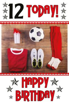 12th Birthday Card - 12 TODAY Happy BIRTHDAY - FOOTBALL Birthday CARD - 12th Birthday Card FOR SON - Grandson - NEPHEW - Cousin