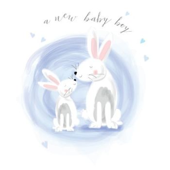 A New Baby Boy - NEW BABY Cards - BABY Boy CARDS - CUTE Bunny CARD - New BABY Boy CARDS - New BABY Cards ONLINE