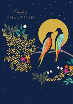 Anniversary Cards - HAPPY ANNIVERSARY - LUXURY Anniversary CARDS - Happy ANNIVERSARY Cards -  CUTE Birds On A BRANCH Anniversary CARD