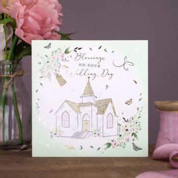Blessings On Your Wedding Day - WEDDING Day CARD - HAND-FINISHED Wedding CARD With GOLD FOIL & Crystals - WEDDING Cards