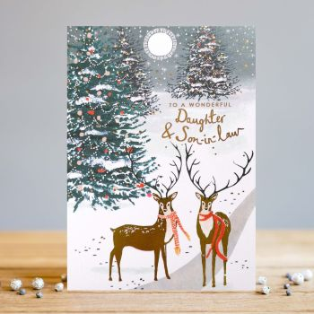 Daughter & Son In Law Christmas Cards - STAG Christmas CARDS - Wonderful DAUGHTER & Son In LAW Card - GOLD Foil CHRISTMAS Card - XMAS Cards ONLINE