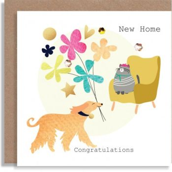 New Home Cards - NEW Home CONGRATULATIONS - Housewarming - MOVING HOME Cards - NEW House CARDS - CUTE Dog & Cat NEW Home CARD