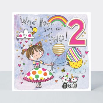 2nd Birthday Cards - WOO HOO You ARE TWO - Pretty GIRL With BALLOONS BIRTHDAY Card - 2nd BIRTHDAY Card FOR - Daughter - GRANDDAUGHTER