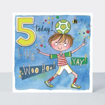 5th Birthday Cards - FIVE Woo HOO YAY - Colourful & FUN FOOTBALLER BIRTHDAY Cards - 5th BIRTHDAY Card FOR - Son - GRANDSON - Nephew