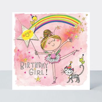 Ballerina Birthday Cards - CHILDRENS Birthday CARDS - HAPPY Birthday CARDS - Kids CARDS - Ballerina BIRTHDAY Card FOR Daughter - NIECE - Granddaughter