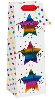 Thank You Bottle Gift Bag - WINE & Bottle GIFT Bags - GORGEOUS Rainbow & STARS BOTTLE BAGS - Gift BAG - Gift WINE Bag - Bottle BAGS & Wine GIFT Bags