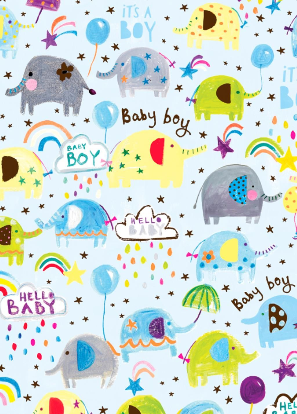 It's A Boy Wrapping Paper - 2 SHEETS Of LUXURY Gift WRAP - RECYCLABLE Wrapp