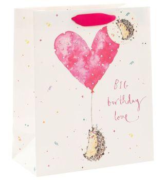 Adorable Hedgehog  Gift Bag - BIG Birthday LOVE - LARGE Portrait GIFT Bag - Pretty Gift BAG - LUXURY GIFT Bags - Birthday GIFT Bags - Large GIFT Bags