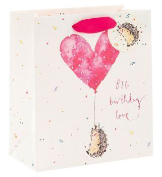 Adorable Hedgehog Gift Bag - BIG Birthday LOVE - MEDIUM Portrait GIFT Bag - Pretty Gift BAG - LUXURY GIFT Bags - Birthday GIFT Bags - Medium GIFT Bags
