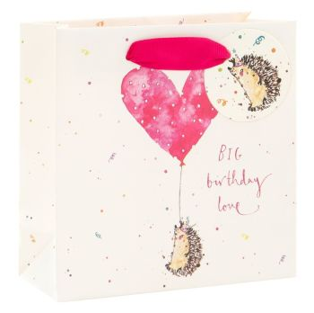 Adorable Hedgehog Gift Bag - BIG Birthday LOVE - SMALL Portrait GIFT Bag - Pretty Gift BAG - LUXURY GIFT Bags - Birthday GIFT Bags - Small GIFT Bags