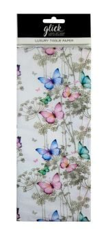 Butterfly Print Luxury Tissue Paper - Pack Of 4 LARGE Sheets - Luxury TISSUE Paper - GIFT Wrapping - BUTTERFLY Printed TISSUE Paper