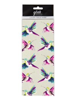 Hummingbird Print Luxury Tissue Paper - Pack Of 4 LARGE Sheets - Luxury TISSUE Paper - GIFT Wrapping - HUMMINGBIRD Printed TISSUE Paper
