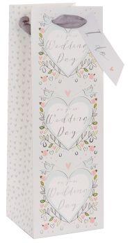 On Your Wedding Day Bottle Bag - WINE & Bottle GIFT Bags - WEDDING Gift BAGS - Gift BAGS - Pretty  WEDDING DOVE Bottle BAG