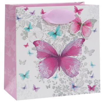 Pretty Butterflies Gift Bag - Small CELEBRATORY Gift BAG - Small GIFT Bags - PREMIUM Gift BAGS - Beautiful SILVER Glitter GIFT BAG - Birthday GIFT Bag