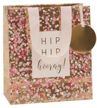 Hip Hip Hooray Gift Bag - MEDIUM Portrait GIFT Bag - Pretty Gift BAG - GIFT Bags - GOLD Foil & PINK GIFT Bags - Medium GIFT Bag With TAG