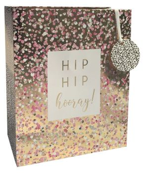 Hip Hip Hooray Gift Bag - LARGE Portrait GIFT Bag - Pretty Gift BAG - GIFT Bags - GOLD Foil & PINK GIFT Bags - Large GIFT Bag With TAG