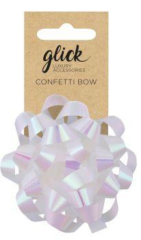 Confetti Bows - IRRIDESCENT WHITE - PACK Of 3 - 8CM Satin FINISH Confetti BOWS - Gift WRAP Accessories - Ribbons & BOWS - IRRIDESCENT WHITE Bow