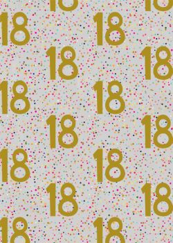 18th Birthday Wrapping Paper - 2 SHEETS Of LUXURY Gift WRAP - RECYCLABLE Wrapping Paper - Flat WRAP - WRAPPING Paper SHEETS - 18th BIRTHDAY Gift WRAP