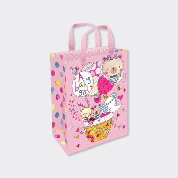 New Baby Girl Gift Bag - SMALL PORTRAIT Gift Bags - GIFT BAGS ‐ BABY Shower GIFT Bags - LUXURY New BABY Girl Gift BAGS
