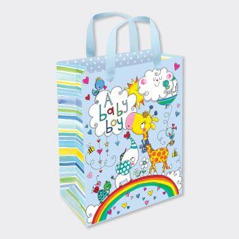 New Baby Boy Gift Bag - MEDIUM PORTRAIT Gift Bags - GIFT BAGS ‐ BABY Shower GIFT Bags - LUXURY New BABY Boy Gift BAGS