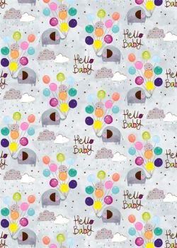 Hello Baby Wrapping Paper - 2 SHEETS Of LUXURY Gift WRAP - RECYCLABLE Wrapping Paper - Flat WRAP - WRAPPING Paper SHEETS - ELEPHANT & BALLOONS WRAP