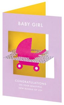 Baby Girl Cards - 3D TWIST Out CARD - Beautiful NEW Bundle Of JOY - Unique BABY Girl Card - 3D Cards - CONGRATULATIONS New BABY Cards