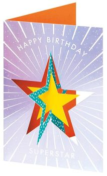 Birthday Cards - 3D TWIST Out CARD - Happy BIRTHDAY Superstar - Unique CHILDRENS Birthday CARDS - 3D Cards - KIDS Birthday CARDS