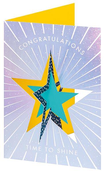Congratulations Cards - 3D TWIST Out CARD - Time TO SHINE - Unique CONGRATU