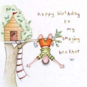 Amazing Brother Birthday Cards - Children's Birthday Cards - HAPPY Birthday TO My AMAZING Brother - FUN Treehouse BIRTHDAY Card - LITTLE Brother CARDS