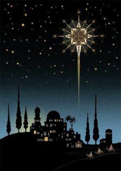 Beautiful Bethlehem Star Christmas Card - STUNNING Christmas CARD - GOLD Foil CHRISTMAS Card - Unique CHRISTMAS Cards FOR Family & FRIENDS