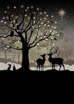 Beautiful Christmas Woodland Christmas Card - STUNNING Christmas CARD - GOLD Foil CHRISTMAS Card - Unique CHRISTMAS Cards FOR Family & FRIENDS