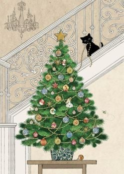 Cheeky Kitten & Christmas Tree Christmas Card - STUNNING Christmas CARD - GOLD Foil CHRISTMAS Card - Unique CHRISTMAS Cards FOR Family & FRIENDS