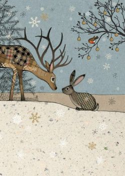 Beautiful Deer & Rabbit Christmas Card - STUNNING Christmas CARD - GOLD Foil CHRISTMAS Card - Unique CHRISTMAS Cards FOR Family & FRIENDS