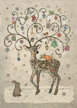 Beautiful Decorated Deer With Friends Christmas Card - STUNNING Christmas CARD - GOLD Foil CHRISTMAS Card - Unique CHRISTMAS Card FOR Family & FRIENDS