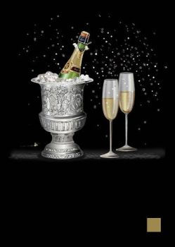 Champagne Card - BLANK Card -BEAUTIFUL Champagne & ICE Bucket Greeting CARD - Gold & SILVER Foil GREETING Card - CONGRATULATIONS Cards - ART CARDS