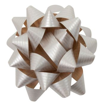 Eco Friendly Paper Gift Bows - SILVER - PACK Of 3 - RECYCLABLE Gift BOWS - Gift WRAP - Gift BOWS - SILVER Gift BOWS - 8cm SILVER Gift BOWS