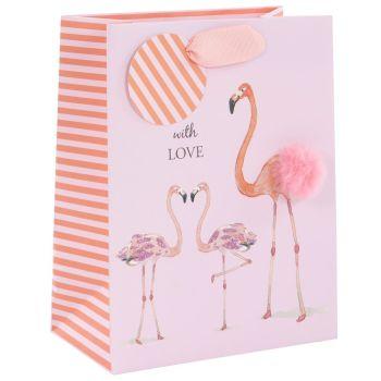 Fun Flamingo Family Medium Gift Bag - MOTHER'S Day GIFT Bags - MEDIUM Portrait GIFT Bags - Gift BAGS - Pretty BIRTHDAY Gift BAGS - Mother's DAY Gifts
