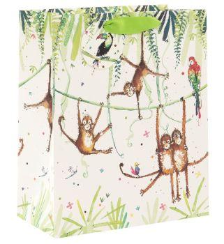 Adorable Monkey Family Gift Bag - Birthday GIFT Bag - LARGE Portrait GIFT Bag - Pretty Gift BAG - LUXURY GIFT Bags - Birthday GIFT Bags - GIFT Bags