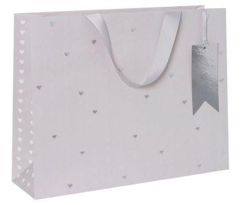 Embossed Hearts Large Luxury Gift Bag - WEDDING Day GIFT Bags - LARGE Gift BAGS - Large LANDSCAPE Gift BAG - PRETTY Birthday GIFT Bags