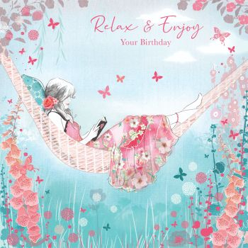 Beautiful Birthday Card For Her - RELAX & ENJOY Your BIRTHDAY - GIRL Reading - Birthday CARD For DAUGHTER - Granddaughter - NIECE - Friend