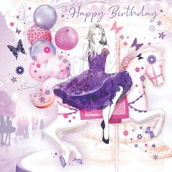 Beautiful Birthday Card For Her - HAPPY BIRTHDAY - Pretty GIRL At The FAIRGROUND - Birthday CARD For DAUGHTER - Granddaughter - NIECE - Friend