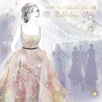 Beautiful Birthday Cards For Her - WISHING You A WONDERFUL BIRTHDAY - Pretty PARTY GIRL - Birthday CARD For MUM - Sister - FRIEND - Auntie - DAUGHTER